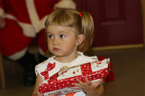 little girl during Christmas in July
